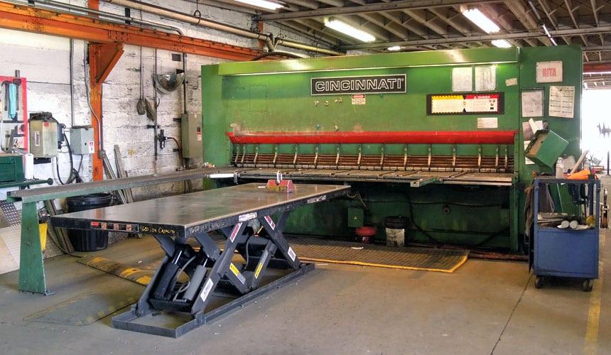 Cincinnati 500 Metal Shear, Eberl Metal Fabrication Services Division